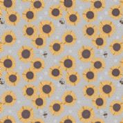 Lewis & Irene Farmers Market - 5352 - Sunflowers on Pale Grey - A211.3 - Cotton Fabric